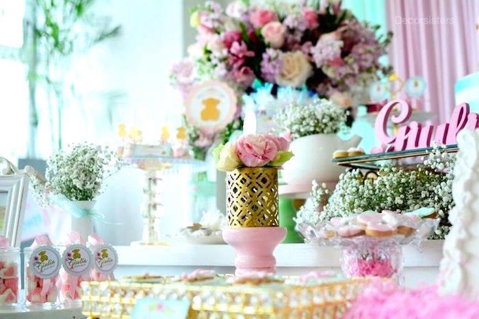 Baby shower de ni a con decoraci n oso tous la dolce party for Decoracion baby shower nina