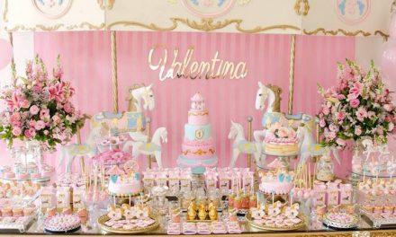 Primer cumpleaños Carrusel dorado y rosa