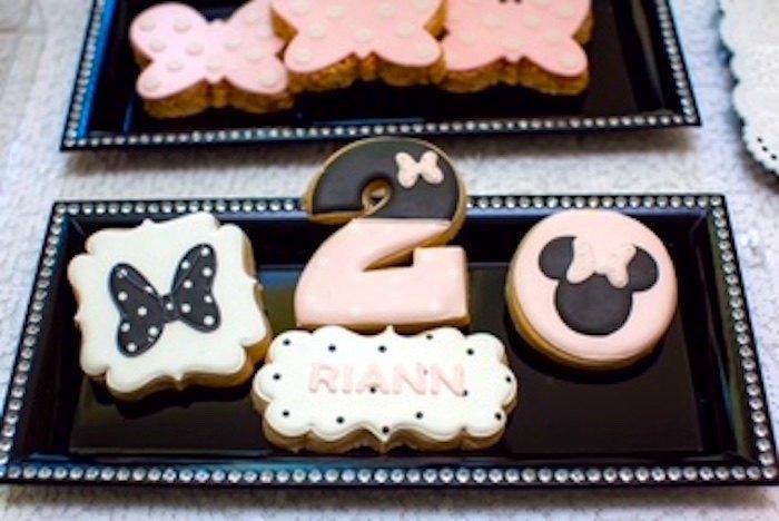 Cumpleaños Minnie Mouse En Rosa Negro Y Plateado La Dolce