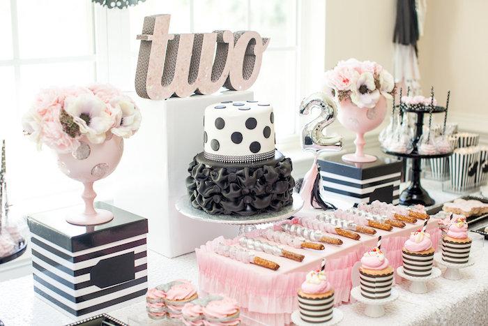 Cumple Minnie Mouse en rosa, negro y plateado